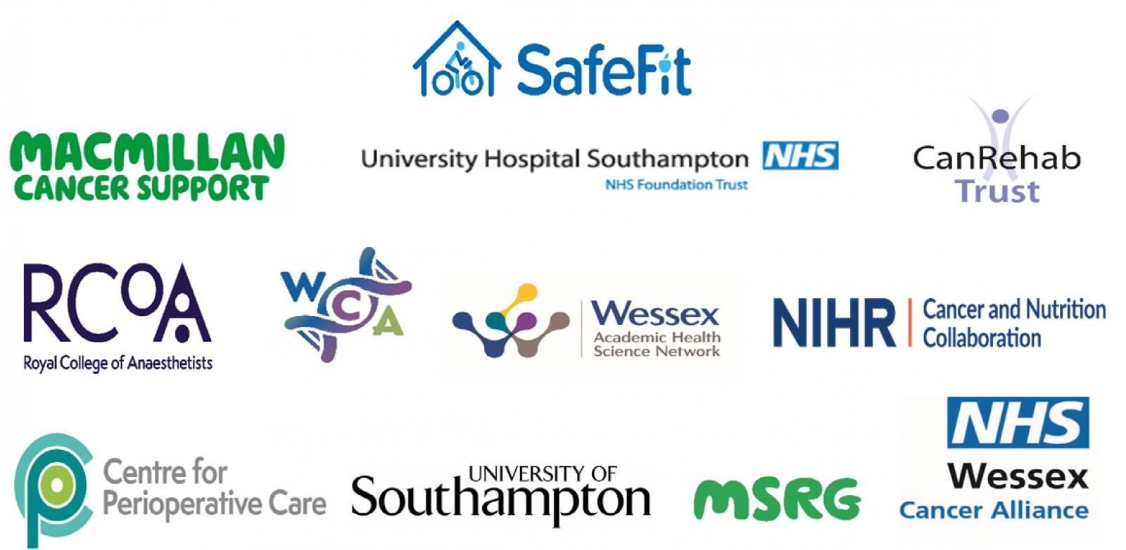 Picture shows the logos of all the groups with links to SafeFit